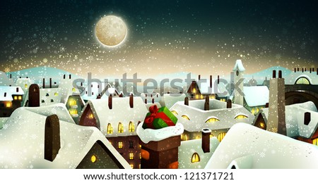Peaceful Town Under Moonlight At Christmas Eve | Holiday Greeting Card, Banner | Layered Vector Background - stock vector