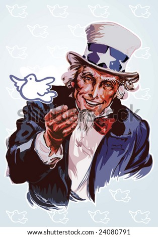 Peaceful Uncle Sam - stock vector