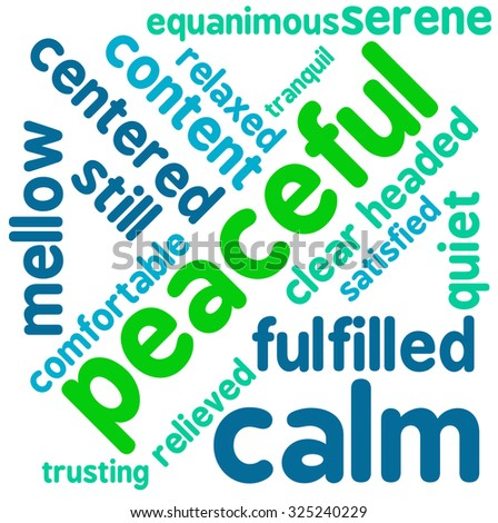Peaceful word cloud on a white background.