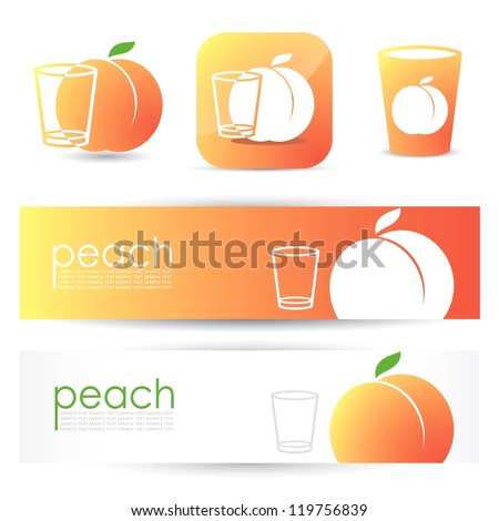 Peach banners and symbols - vector illustration - stock vector