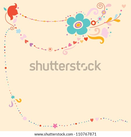 Peach colored background with delicate details. - stock vector