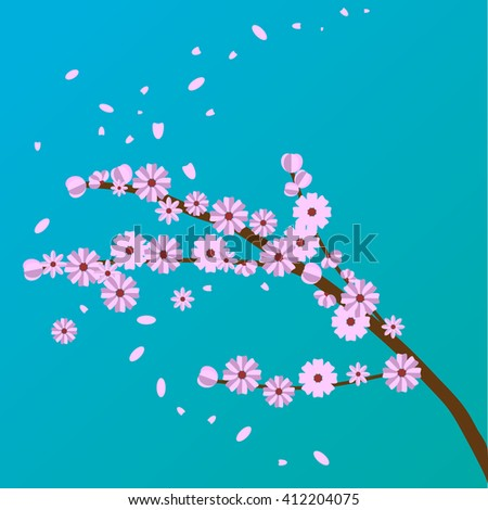 Peach flower. Sakura branch. Cherry blossom. Flat design. Spring tree vector graphic.   - stock vector