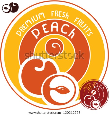 Peach label. Peach vector sign.