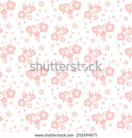 peach on a white background seamless pattern of flowers and leaves of cherry