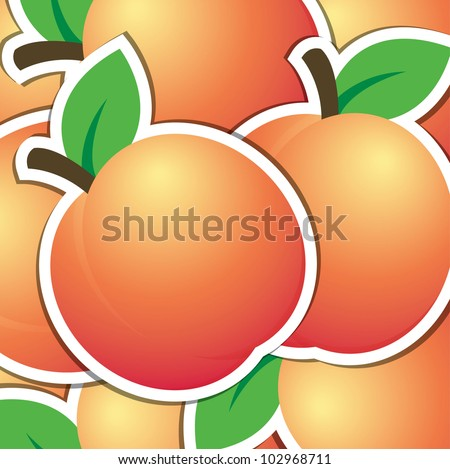 Peach sticker background/card in vector format. - stock vector