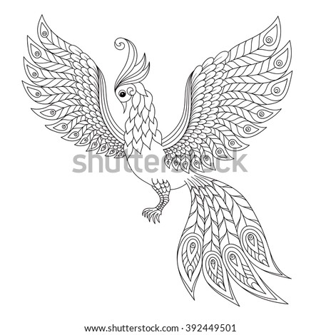 Peacock. Adult antistress coloring page. Black and white hand drawn doodle for coloring book - stock vector