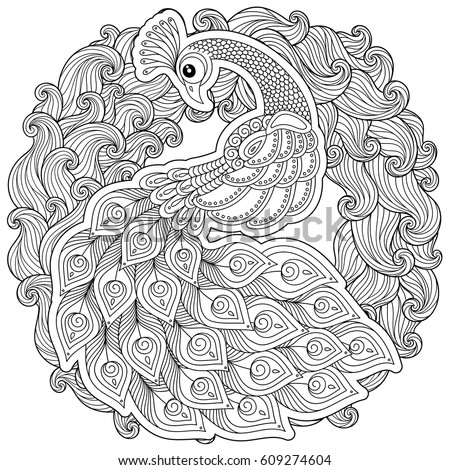 Peacock Adult Antistress Coloring Page Black Stock Vector HD ...