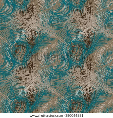 Peacock feathers colorful seamless pattern. Repeating abstract chaotic background texture. Cloth design, fabric swatch, wallpaper - stock vector
