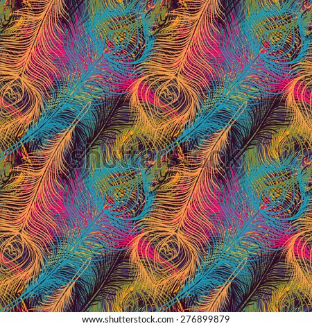 Peacock feathers colorful seamless. Repeating background texture. Cloth design, wallpaper, wrapping - stock vector