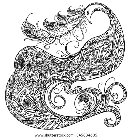 Peacock. Vintage fantasy bird with ornament. Black and white hand drawn vector illustration. - stock vector