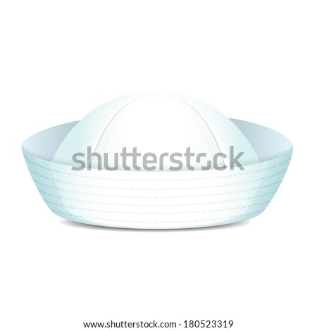Peaked sailor hat on white background isolated vector illustration - stock vector