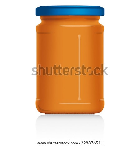 Peanut Butter Jar vector visual illustration, Drawn with mesh tool. Fully adjustable & scalable. - stock vector
