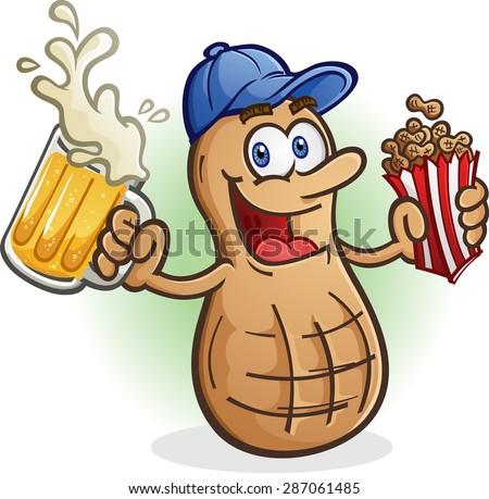 Peanut Cartoon Character Sports Fan Drinking Beer - stock vector