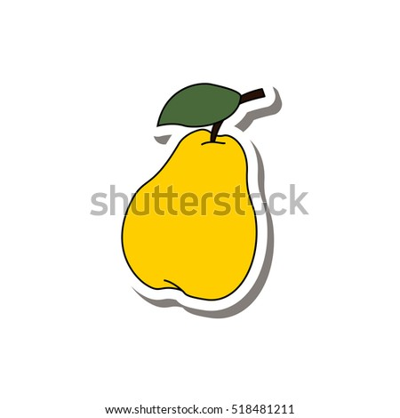 Pear sticker fruit isolated on a white background