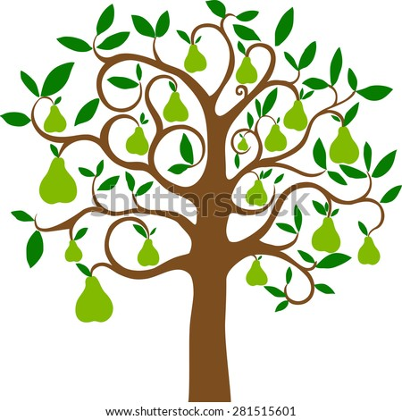 Pear tree isolated on White background. Vector illustration - stock vector