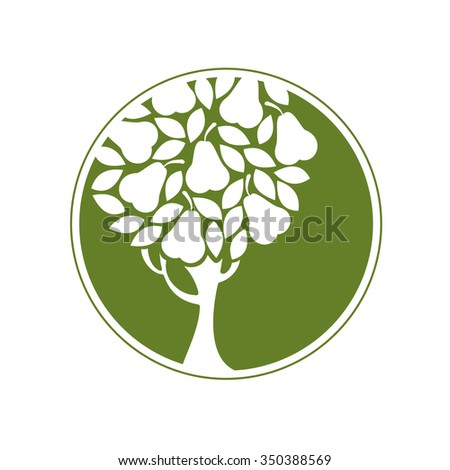 Pear tree. Round icon. Vector emblem. - stock vector