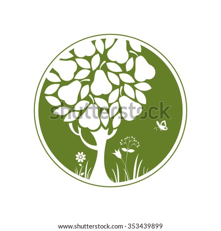 Pear tree. Round icon. Vector silhouette. - stock vector