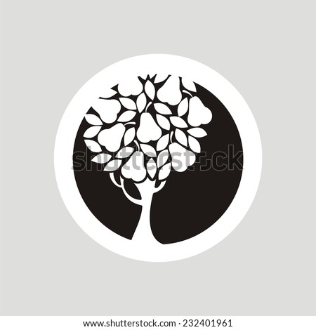 Pear tree. Vector silhouette.  - stock vector