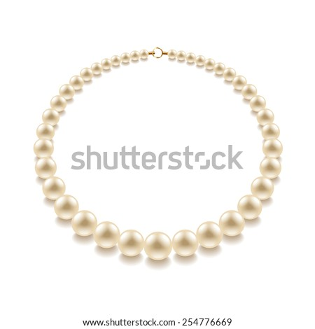 Pearl bead isolated on white photo-realistic vector illustration - stock vector