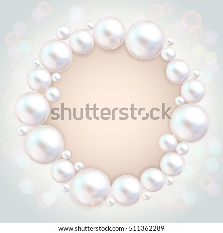 Pearl beads frame on grey background. Jewellery bracelet, necklace . Wedding invitation white pearls background. Vector illustration