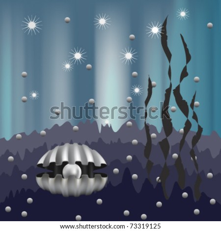 pearl in the shell and algae on the psychedelic blue background , vector - stock vector