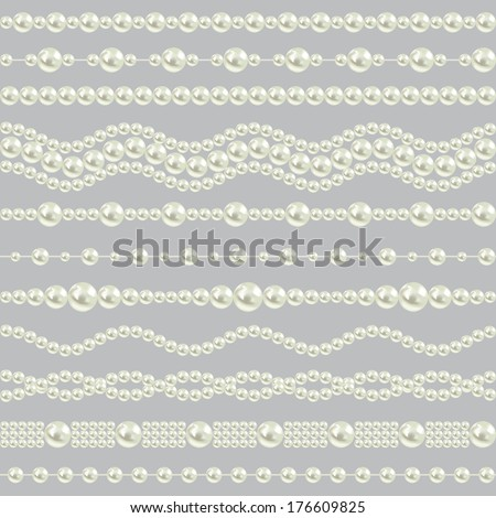 pearl realistic borders set collection isolated on gray background. vector illustration - stock vector