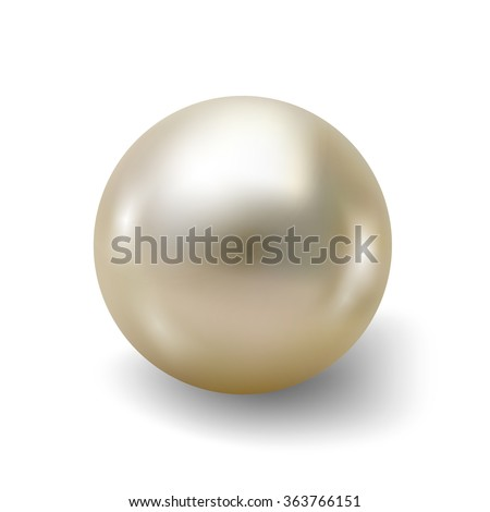 Pearl realistic isolated on white background. Spherical beautiful 3D orb with transparent glares and highlights for decoration. Jewelry gemstones. Vector Illustration for your design and business.  - stock vector