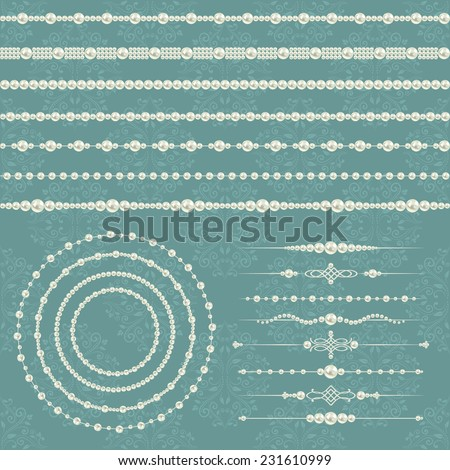 pearl realistic mega set collection isolated on grey blue floral damask seamless pattern background. vector illustration  - stock vector