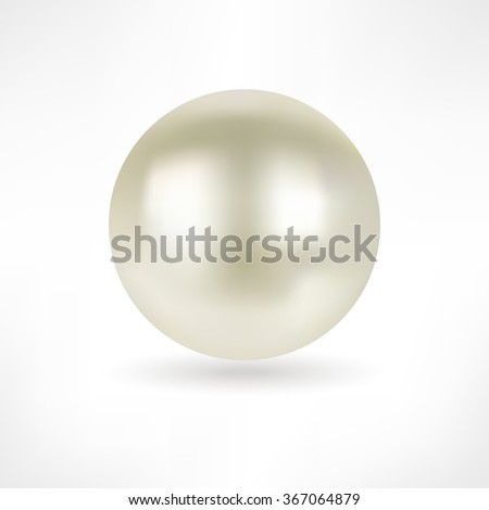 Pearl. White pearl isolated. Beautiful 3D Pearl with a Smooth Shadow - 3D Vector Illustration. Pearl Realistic Vector Illustration. Shiny natural white pearl with light effects. Pearl icon. Abstract. - stock vector