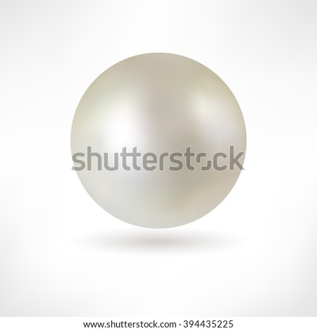 Pearl. White pearl isolated. Beautiful 3D Pearl with a Smooth Shadow - 3D Vector Illustration. Pearl Realistic Vector Illustration. Shiny natural white pearl with light effects.  - stock vector