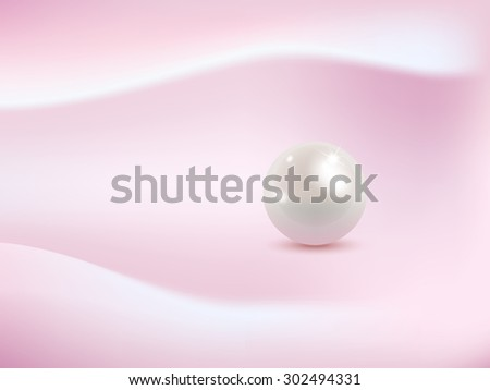 Pearls on pink fabric. Vector illustration. - stock vector