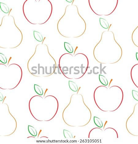 Pears and apples vector pattern. - stock vector