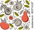 Pears & peaches seamless pattern - stock vector