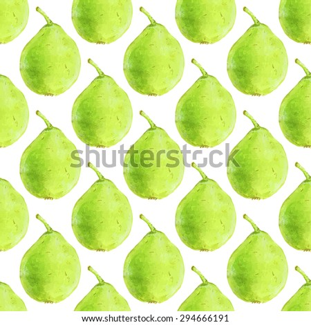 Pears. Seamless pattern with fruits. Hand-drawn background. Vector illustration. Real watercolor drawing. - stock vector