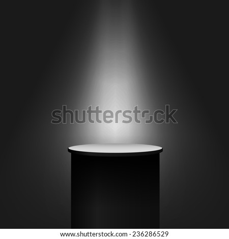 Pedestal on dark background. Vector eps10. - stock vector