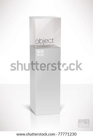 Pedestal top glass display cube case, eps10 vector - stock vector