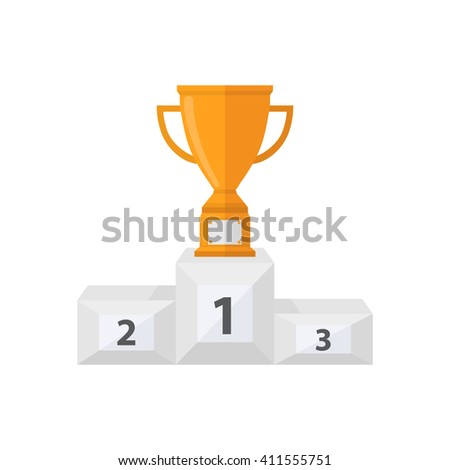 Pedestal with gold trophy cup.Vector award cup with a pedestal icon in a flat style isolated on a white background - stock vector