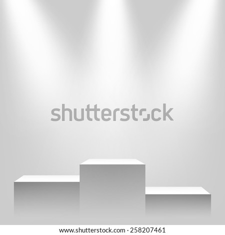 Pedestal with sources of light, vector illustration. - stock vector