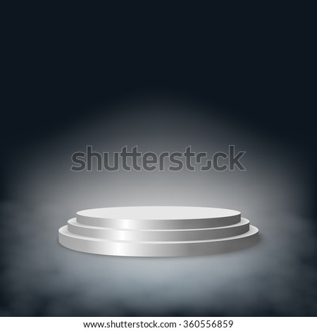 Pedestal with steps in the fog. Vector EPS10