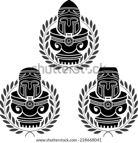 pedestals of medieval helmets. stencils. second variant. vector illustration - stock vector