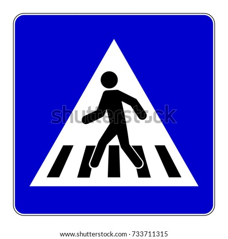 Pedestrian crossing sign, blue square sign with pedestrian crosswalk symbol, vector illustration.