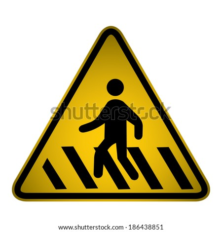 Pedestrian Crossing Sign- Vector - stock vector