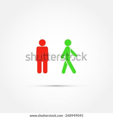 Pedestrian sign -stop and walk icon - stock vector