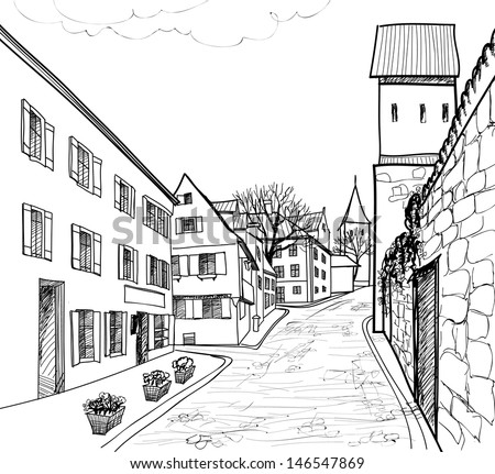 Pedestrian street in the old european city with tower on the background. Historic city street. Hand drawn sketch of cityscape. Vector illustration.