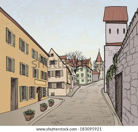Pedestrian street in the old european city with tower on the background. Historic city street. Hand drawn sketch. Vector illustration.  - stock vector