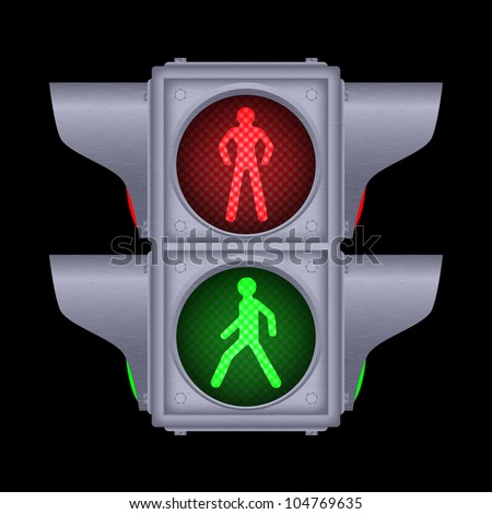Pedestrian traffic lights on black, vector, 10eps. - stock vector