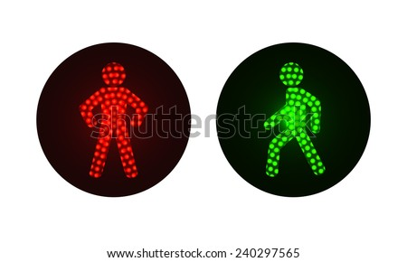 pedestrian traffic lights red and green. Illustration on white background - stock vector