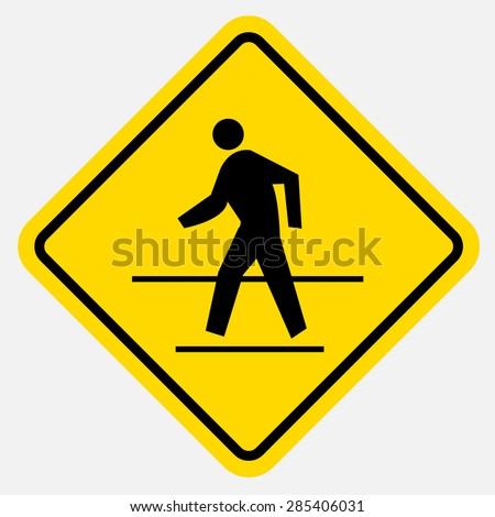 Pedestrian traffic sign - stock vector