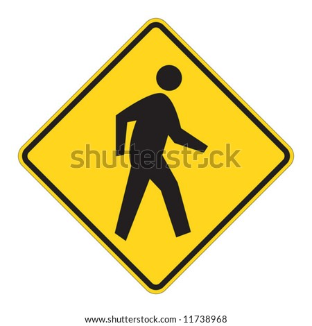 Pedestrian traffic warning on white - stock vector