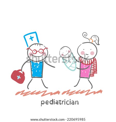 pediatrician stands next to her mother and sick child - stock vector